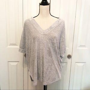 Natori Gray V Neck Sweatshirt - Women's S